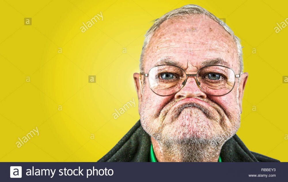 grumpy old man with glasses Stock Photo: 230749207 - Alamy