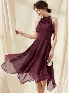 A-Line Scoop Neck Tea-Length Chiffon Homecoming Dress With Cascading Ruffles