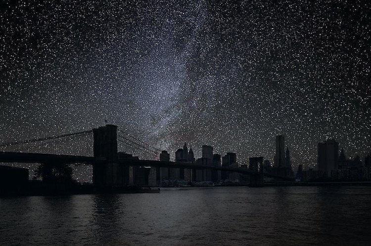 New York City with no electricity, just the light of the stars. : pics