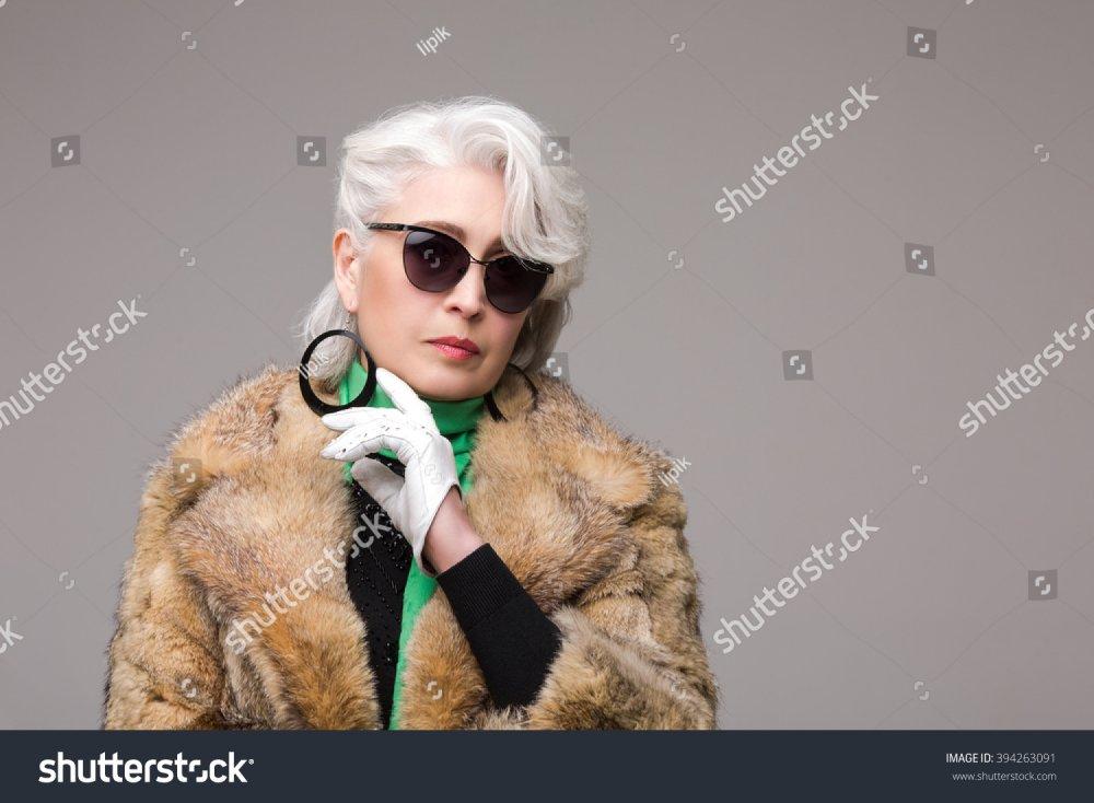 Portrait Rich Woman Fur Coat Sunglasses Stock Photo (Edit Now ...