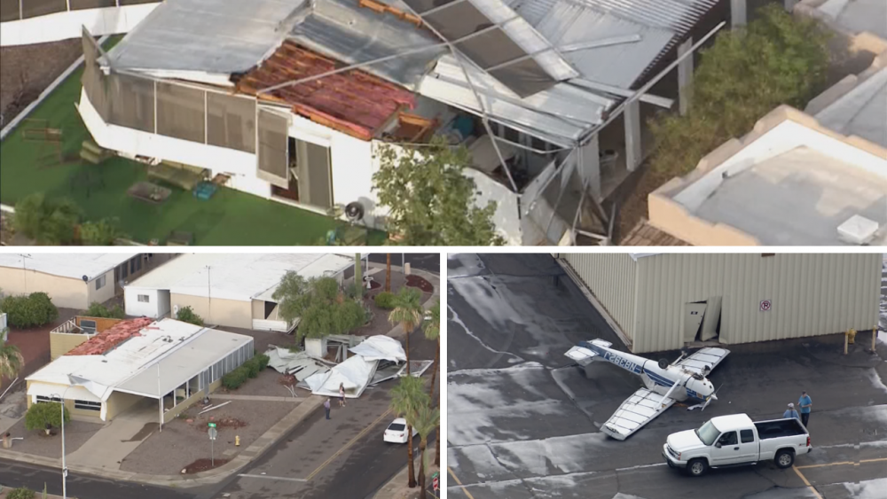 the roof of a building: Roofs were ripped off and a plane was flipped over because of the monsoon in Mesa.