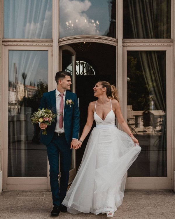 Photo by Pintér Adrienn on August 22, 2020. Image may contain: 2 people, people standing and wedding.