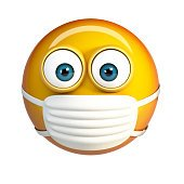 Emoji with Hygienic Mask. Surgical Mask Face Emoticon.