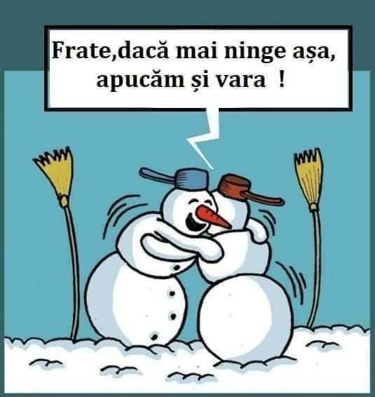 """Ar putea fi o imagine cu text care spune """"Frate, dacă mai ninge așa, apucăm și vara! mm"""""""