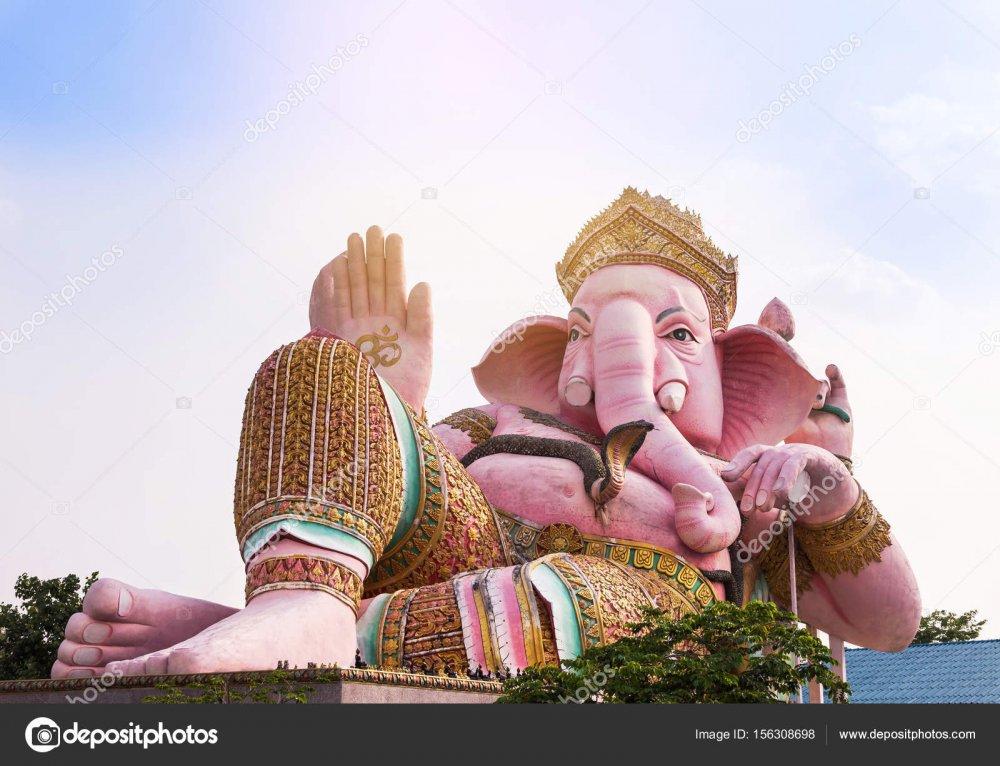 Big pink ganesha statue in ganesha park temple nakhon nayok province  Thailand. ⬇ Stock Photo, Image by © AirUbon #156308698