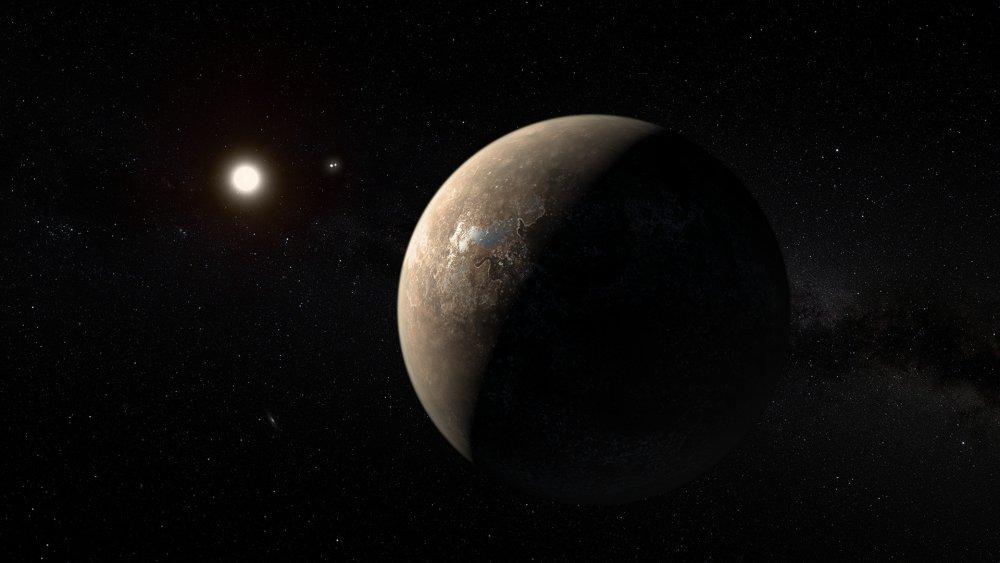 Artist's impression of Proxima Centauri b shown hypothetically as an arid rocky super-earth.jpg