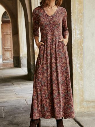 V Neck Cotton Floral Long Sleeve Maxi Dresses